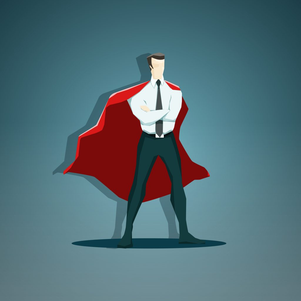Vector illustration of the businessman superhero - stock vector. EPS 10 file.