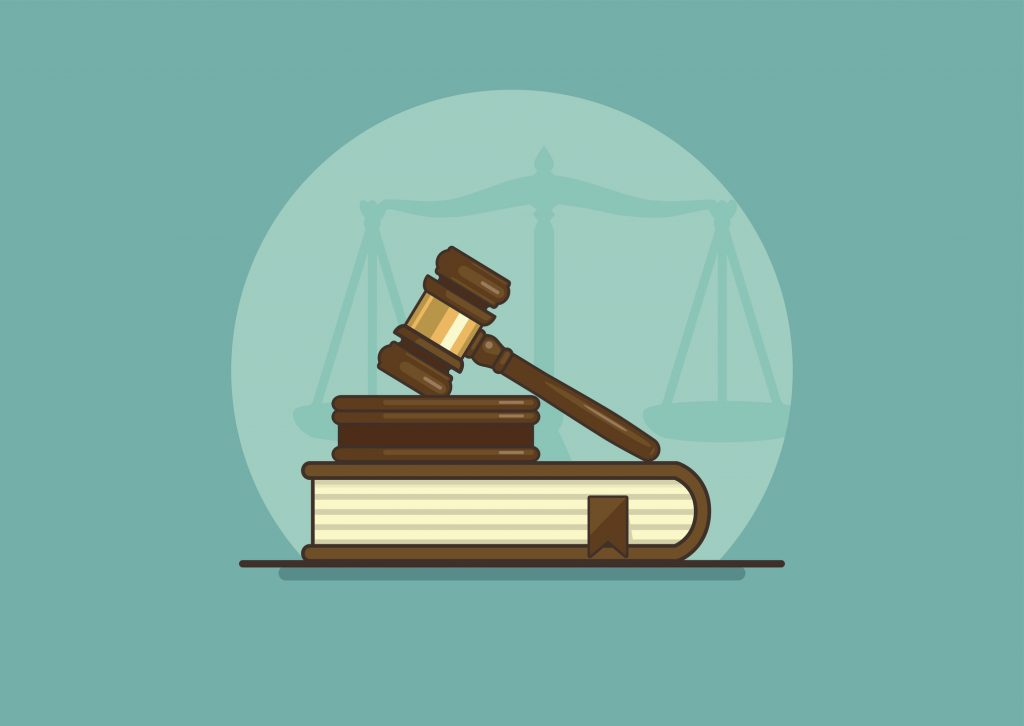 judge gavel on book with scales, flat vector illustration